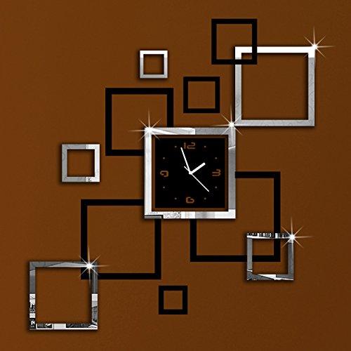 Alrens DIYTMBlack And Silver Suqares Frames Art Mordern Luxury Design Acrylic Silent Quartz Wall Clock DIY Removable 3D Crystal Mirror