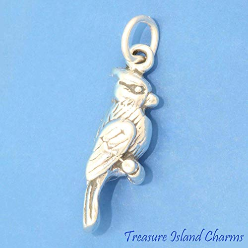 Blue Jay Cardinal Bird 3D .925 Solid Sterling Silver Charm Made in USA for Pendant Bracelet DIY Jewelry Making Supply by Charm Crazy