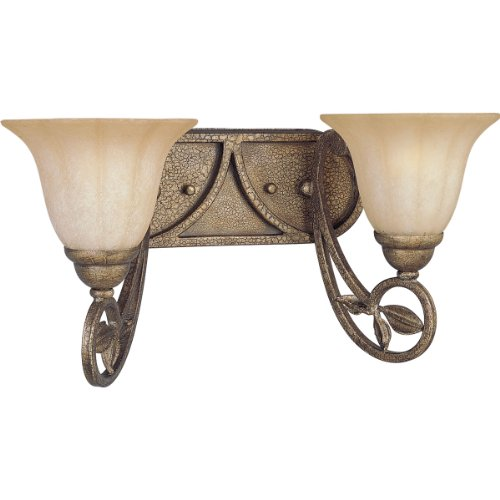 Mission Bronze Bracket - Progress Lighting P2967-91C 2-Light Wall Bracket with Weathered Sandstone Glass, Biscay Crackle