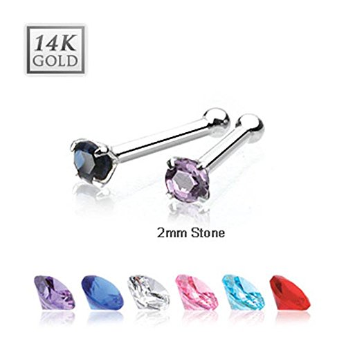 {Clear} 14 Karat Solid White Gold 2mm Prong CZ Nose Stud Ring - 20 GA - Clear (Sold Ind.)