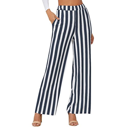 (2019 Palazzo Pants,Women Casual Stripe Print Wide Leg Trousers Leggings by-NEWONSUN Navy)