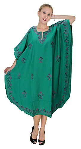 La Leela dames brodé tout en 1 rayonne tunique robes top soir occasionnels habillage robe de maternité bikini kimono maillots de bain couvrir loungewear beachwear short lumière caftan vert