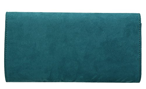 SwankySwans - Sabrina Suede Look Party Prom Clutch Bag, Sacchetto Donna Teal
