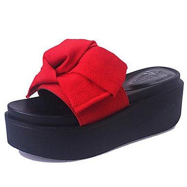 LvYuan Tacón Plano Tacón Cuña-Confort-Sandalias-Vestido Informal-Tejido-Multicolor Red