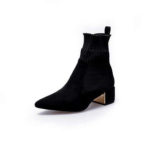 Tacón Cuadrado Botas Cortas para Hacer Punto Apretado Boca Calcetines Botas de Invierno Scrub Grueso Tacones Martin Mujer Botas: Amazon.es: Zapatos y ...