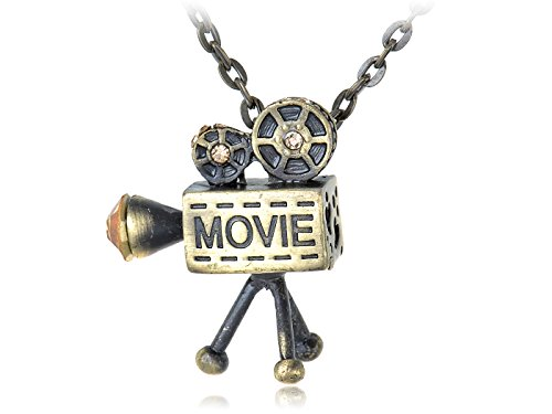 Alilang Brass Tone Vintage Inspired Old School Movie Film Reel Projector Pendant Necklace