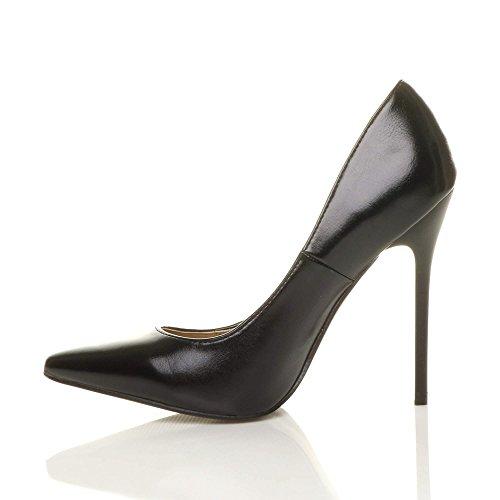 Damen Höher Absatz Kontrast Stilettos High Heels Spitz Gepflegt Fesch Arbeit Pumps Schuhe Schwarz Matt