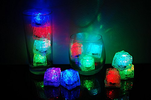 (Set of 12 Litecubes Brand 8 Mode MultiColor RAINBOW Light up LED Ice)
