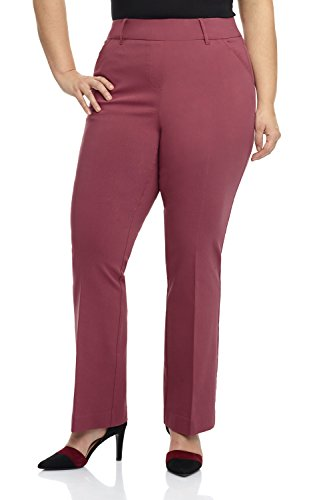 Rekucci Curvy Woman Ease in to Comfort Fit Barely Bootcut Plus Size Pant (14W,Desert Rose)