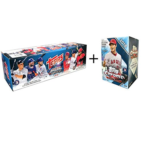 Topps 2018 Complete Set Retail Plus A 2018 Chrome Baseball Mass Value (Topps Baseball Set)