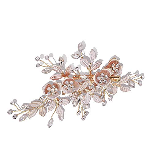 Rose Gold Wedding Hair Clip Rhinestone Bridal Barrette Crystal Simulated Pearl Leaves Paves Headpiece for Bride Bridesmaids