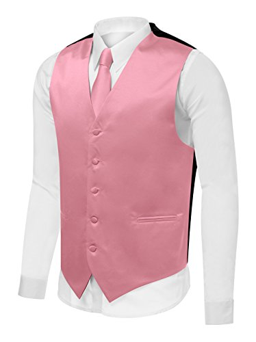 (Azzurro Men's Dress Vest Set Neck Tie, Hanky for Suit or Tuxedo , Mauve V28 , Large )