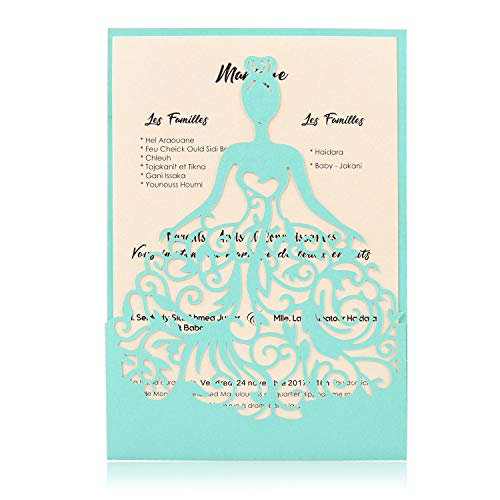 BingGoGo 12x Pearl Paper Laser Cut Invitations, For Baby Shower, Wedding, Mother