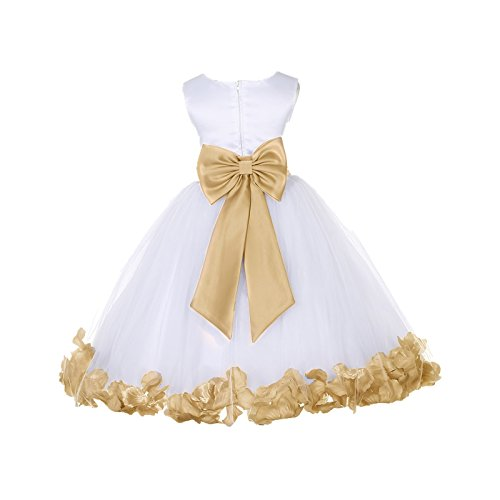 (ekidsbridal White Tulle Rose Petals Flower Girl Dress Tulle Dress Christening Dress 302T 8)