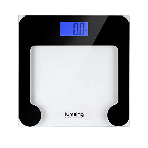 Lumsing Digital Body Weight Bathroom Scale with Extra Large Lighted Display, Tempered glass, 400 Pounds Scales (13 X 10 Platform)