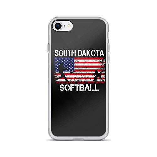 iPhone 7/8 Pure Clear Case Cases Cover South Dakota Softball Team American Flag Independence Day Patriotic Design 4th of July USA