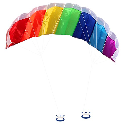 Zooawa Rainbow Sport Kite, 63 Inch Dual Line Stunt Parafoil with Flying Tools Outdoor Fun Play Toy - Rainbow