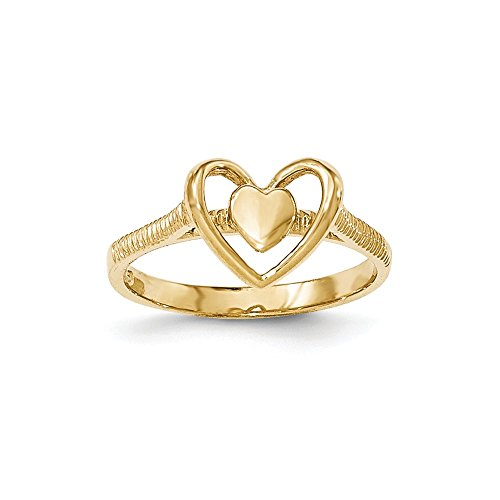 ld Polished Textured Heart w/Heart Frame Ring ()