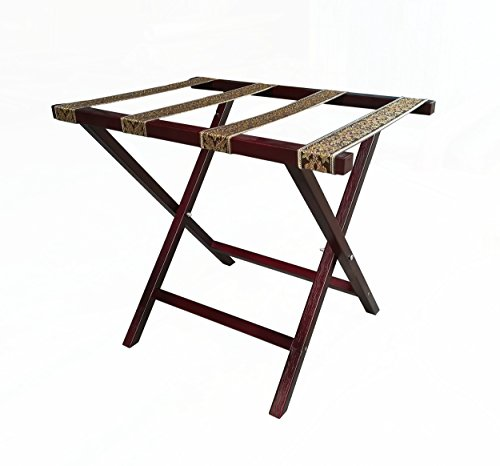 (FixtureDisplays Practical Straight Leg Luggage Rack with Tapestry Webbing, Mahogany, Brown Straps 104368 )