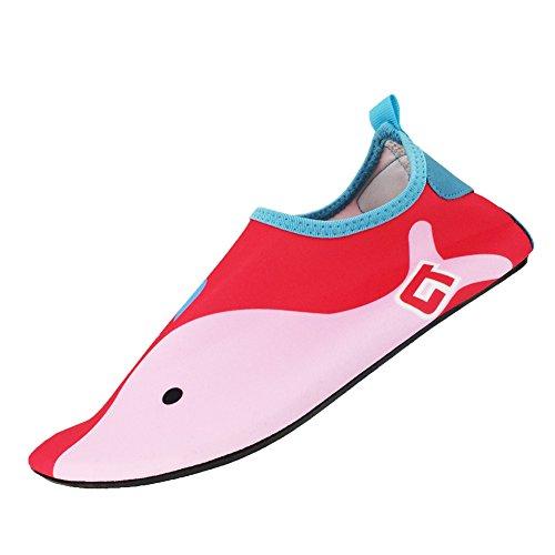 SENFI Jungen Mädchen Wasser Schuhe Mutifunctional Barfuß Quick Dry Aqua Schuhe Für Strand Pool Übung (Kleinkind / Little Kid / Big Kid) rot
