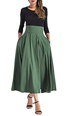 Hanlolo Womens Maxi Skirts High Waisted Pleated Flared A Line Bow Skirts with Pocket