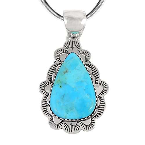 Turquoise Pendant Necklace Sterling Silver 925 Genuine Turquoise 20