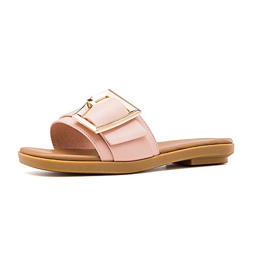 Pink Belt New Buckle Heel Slippers Low in Summer wRqgOx8Hq