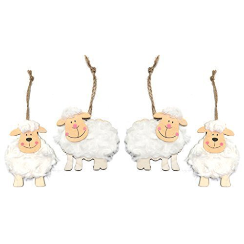 Pack of 4 Wooden Fluffy Sheep Easter Bonnet Hanging Decorations Robelli