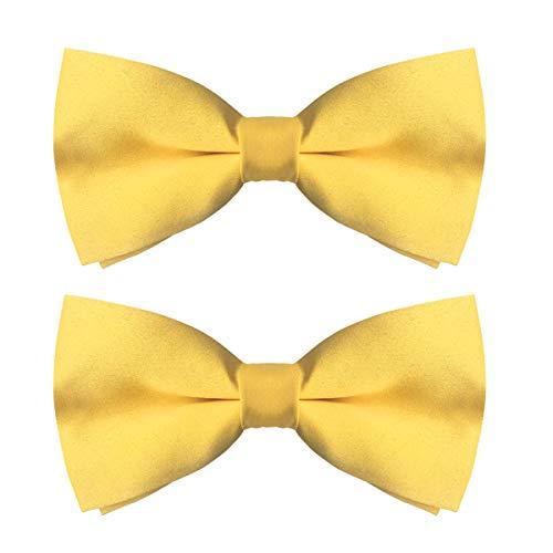 (Men's Classic Pre-Tied Satin Bow Ties, Formal Tuxedo Bowtie Adjustable Length (Bright Yellow, 2))