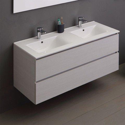 Mobile bagno 120 cm a terra lavabo ceramica e colonna con specchio ...
