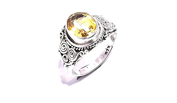 Mughal gems /& jewellery 925 Sterling Silver Ring Natural Blue Quartz Gemstone Fine Jewelry Ring for Women Size 6 U.S