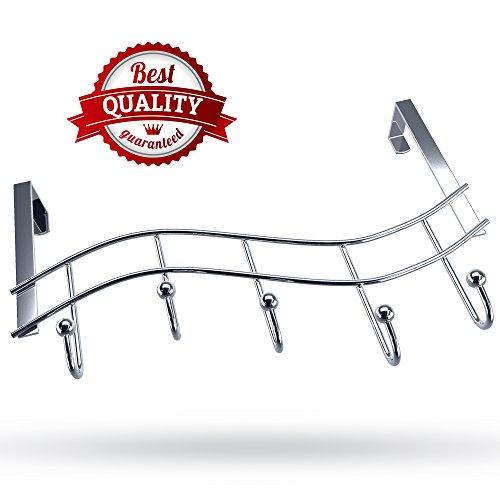 Over the Door Rack with Hooks | 5 Hangers for Towels Coats Clothes Robes Ties Hats | Bathroom Closet Extra Long Heavy Duty Chrome Space Saver Mudroom Organizer by Kyle Matthews Designs (Accessories Bathroom Rv)