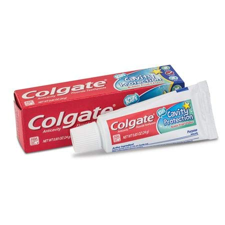 Colgate Fluoride Toothpaste Cavity Protection For Kids Bubble Fruit Flavor 0.85 Oz / 24 g, Travel Friendly (Pack of 12)