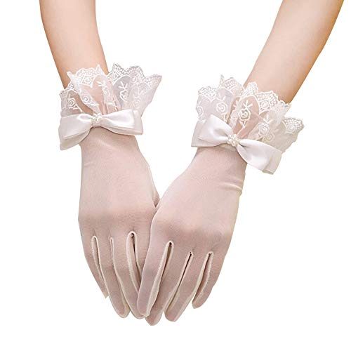 Floral Short Lace Gloves, Women Wrist Length Gloves for Wedding(B)