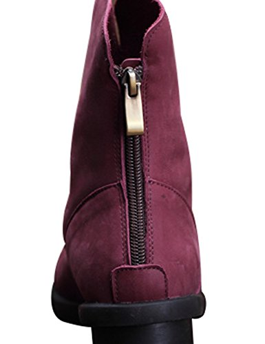 Leather Winter Short Zoulee Warm Flat Boots Autumn Boots Women's Purple wqEtrtxX