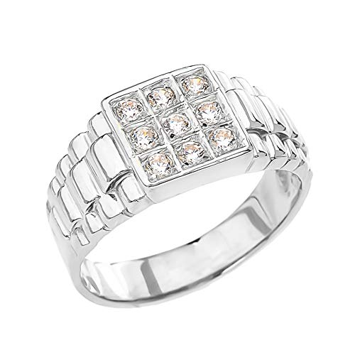 Men's Fine Sterling Silver CZ Square Watch-Style Band Ring (Size 15.5) from Men's Fine Jewelry