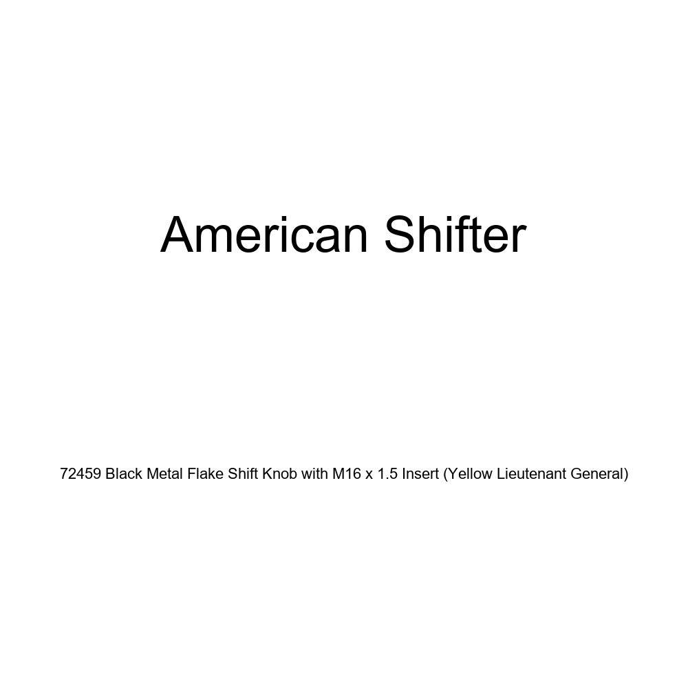 Yellow Lieutenant General American Shifter 72459 Black Metal Flake Shift Knob with M16 x 1.5 Insert