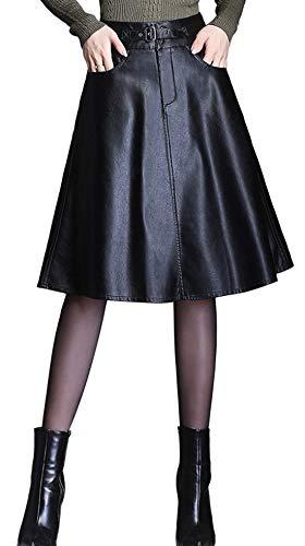 (chouyatou Women's Graceful A-Line Flare Pleated Faux Leather Midi Skirt Pocket (Medium, Black))