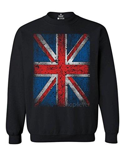 Union Jack Vintage British Flag Crewneck United Kingdom Flag Sweatshirts #13315 X-Large Black (One Direction British Flag)