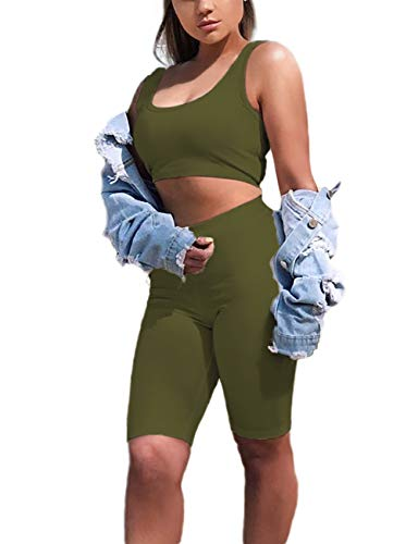 (Amilia Womens Sexy Long Sleeve Crop Tops High Waist Leggings 2 Piece Bodycon Set Casual Outfit Tracksuit (S, Olive-Sleeveless))