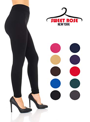 Lined Polyester - Sweet Rose New York Fleece Lined Leggings Ankle Length Women Stretchy Thermal Jogger Tights 100% Polyester Available in 10 Solid Colors Perfect for Ladies and Girls (Black)