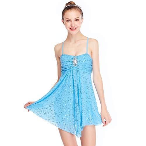 MiDee Dance Costume Lyrical Dress Full Sequins Camisole Ice Skating Dresses (PA, Blue)