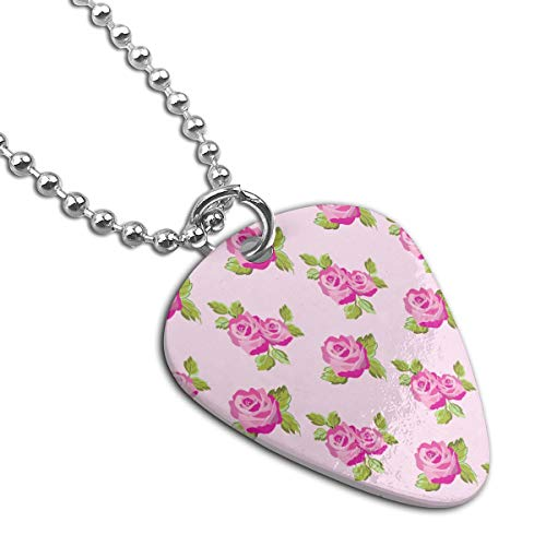 WAY.MAY Pink Rose Guitar Pick Necklace Pendant Dog Tag Pet Card Keychain