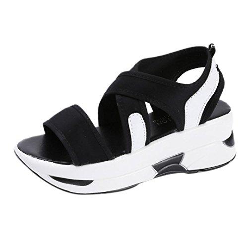Omiky® Damen Sandalen Casual Breathable Sport Schuhe Wedges Sandalen Plattform Sandalen Schwarz