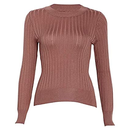 c5f9ad2fc2cb47 JAGENIE Women Threaded Knit Sweater Basic Long Sleeve Round Neck Pullover  Tops Jumper Transparent  Amazon.co.uk  Kitchen   Home