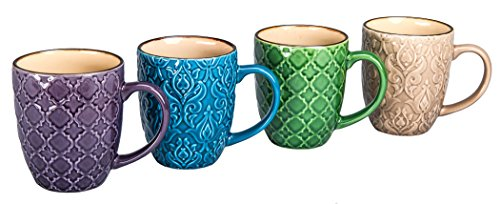 Bia Cordon Bleu Inc 4 Count Tan Interior Raised Pattern Mug Set, 15 oz