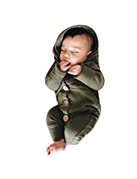 GoodLock Clearance!! Baby Boys Girls Jumpsuits Infant Long Sleeve Solid Hooded Jumpsuit Romper Outfits Clothes
