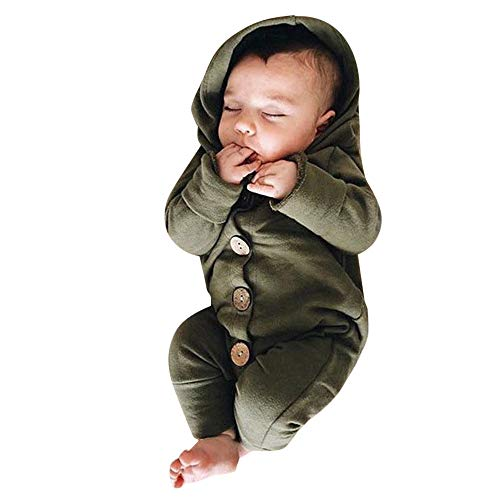 FEITONG Infant Baby Girls Boys Long Sleeve Solid Hooded Jumpsuit Romper Outfits Crawling Suit(6-12M,Green) ()