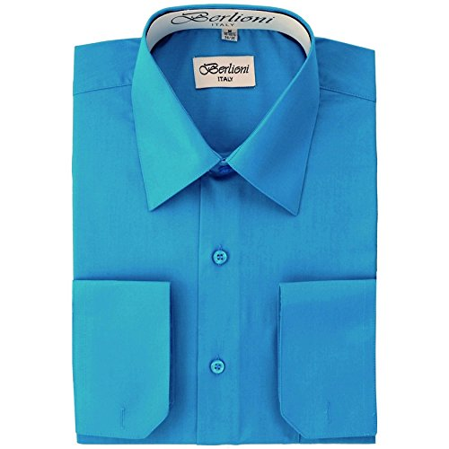Men's Dress Shirt - Convertible French Cuffs ,Turquoise,Large (16-16.5