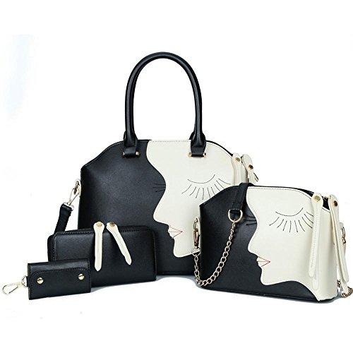 Aoligei Beauté tête quatre morceaux du paquet femelle, européenne et américaine de la mode en relief multi-usage de sac à main épaule unique Ament sac C